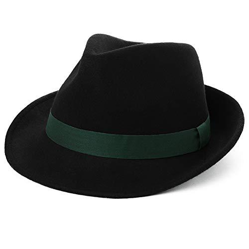Womens Winter 100% Wool Felt 1920s Gatsby Fedora Gangster Derby Jazz Dress Hat for Men Black -