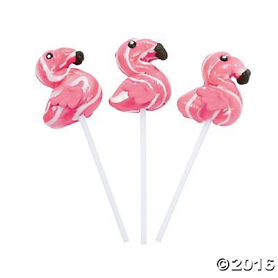 Flamingo Swirl Lollipops - 12 ct -