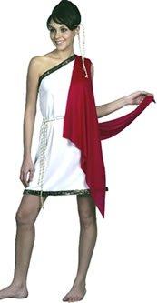 White & Red Ladies Toga Costume ()