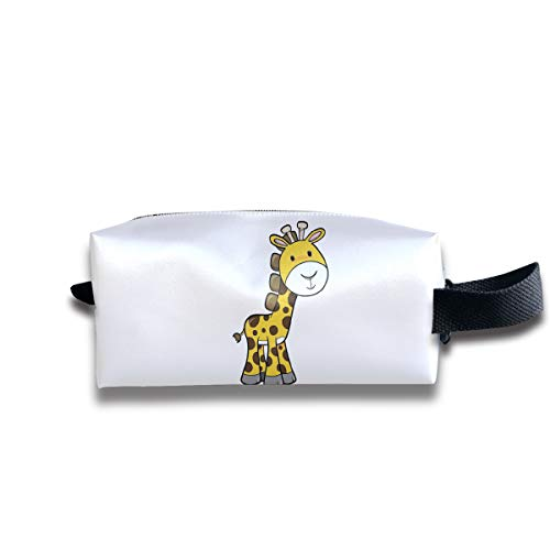 (Womens Girls Cosmetic Bag Travel Handbag Bag White Beard Giraffe Prints Makeup Toiletry Bag Zipper Wallet With Wrist Band)
