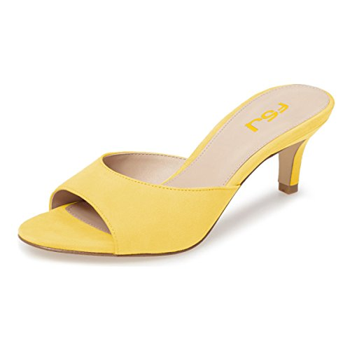 (FSJ Women Comfort Low Heel Mules Peep Toe Suede Sandals Slip On Dress Pump Shoes Size 10 Yellow-6cm)