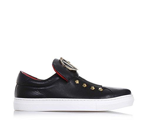 CESARE PACIOTTI - Schwarzer Schuh aus Leder, in Italien hergestellt, auf der Zunge ein goldenes Metall-Logo, Mädchen, Damen