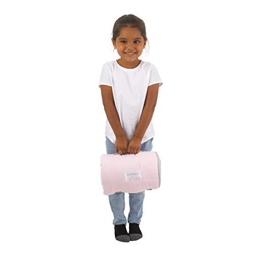 Everything Kids Pink & Grey Fox Toddler Nap Mat with Pillow & Blanket, Pink, Grey, White, Rose