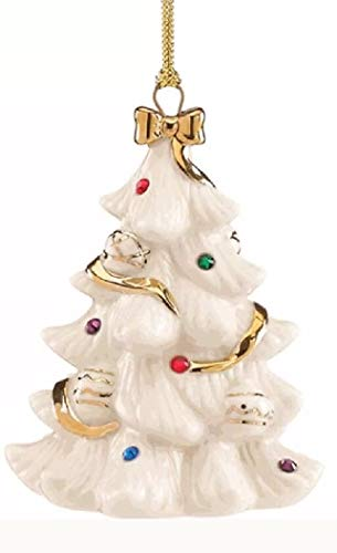 - Lenox Holiday Gems Christmas Tree Jeweled Porcelain Ornament 24k gold accents New in box