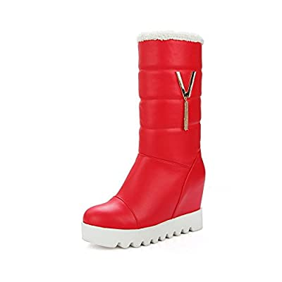 BalaMasa Womens Casual Wedges Slip-Resistant Rhinestones Urethane Boots ABL10384