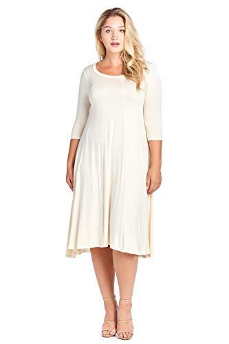 (Modern Kiwi Long Sleeve Flowy Maxi Plus Size Dress Cream 2X)