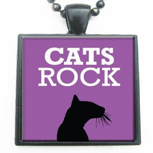 Cats Rock Glass Tile Pendant Necklace with Black Chain