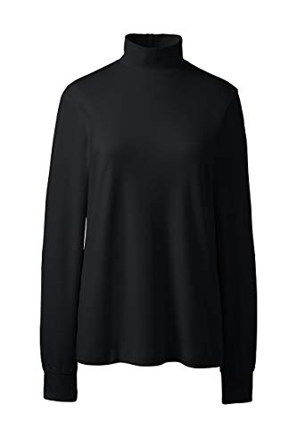 Lands' End School Uniform Women's Relaxed Cotton Long Sleeve Mock Turtleneck Black (Best Women's Turtleneck Sweaters)