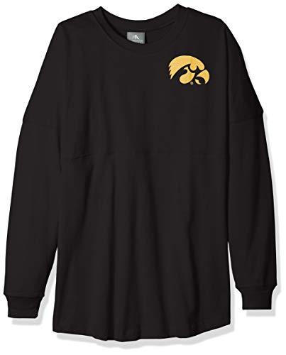 NCAA Iowa Hawkeyes Womens NCAA Women's Long Sleeve Mascot Style Teeknights Apparel NCAA Women's Long Sleeve Mascot Style Tee, True Black, X-Large