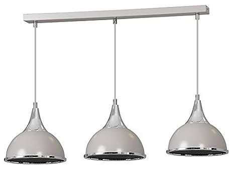 retro modern lighting. Pendant Ceiling 3 Lights Grey Chrome Finish Lampshade Industrial Retro Modern Chandelier Lighting D