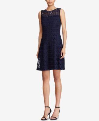 LAUREN RALPH LAUREN Womens Petites Mildia Sleeveless Lace Mini Dress Navy 6P