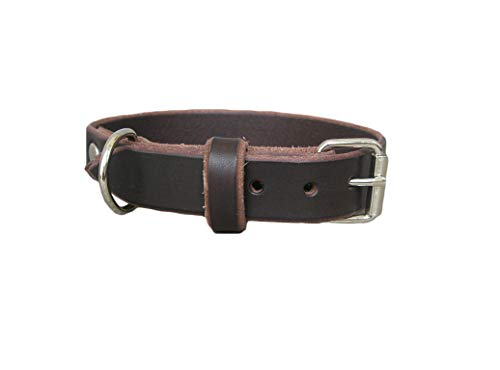 Brown Leather Dog Collar, Ideal for All Breeds, Adjustable Collar, YupCollars, Made in Italy