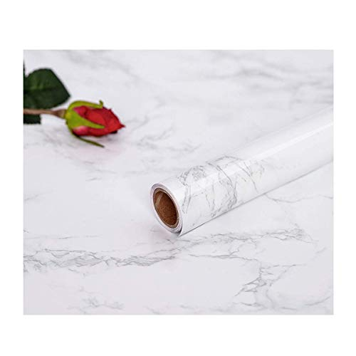 Abyssaly 17.71'' X 79'' Marble Contact Film Granite Look Effect Contact Paper Decorative Self-Adhesive Film Marble Gloss Vinyl Film Contact Paper for Furniture by Abyssaly