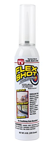 Flex Shot Rubber Adhesive Sealant Caulk, 8-oz, White (Mildew Resistant)