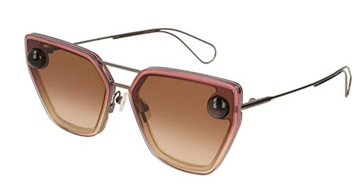 Christopher Kane CK0023S 003 Sunglasses Ruthenium Frame Brown Gradient Lens