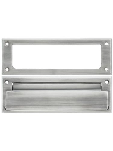 Solid Brass Letter Size Mail Slot With Open Back Plate in Satin (Vestibule Spring)