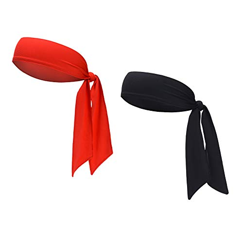 DEMIL Sports Headband - Head Tie Tennis Tie Hairband - Sweatbands Headbands Wristbands Head Wrap - Ideal for Working Out,Tennis (2pcs-Black+red) ()