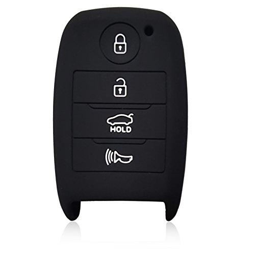 DOBREV 4 Buttons Silicone Case Protector Key Fob Cover Smart Car Remote Holder for KIA OPTIMA FORTE SORENTO RIO (black)