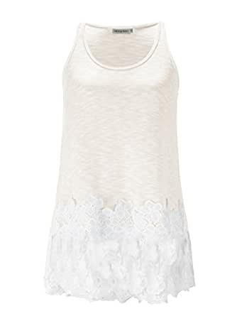 Anna-Kaci Casual Beige Vintage Floral Lace Trim Detail Loose Fitting Long Tunic Tank Top,Beige,Small