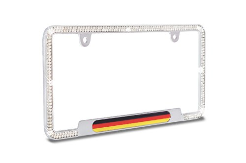 JR2 CGM Shining Sparkling Premium 4 Row Crystal Diamond Chrome Metal License Plate Frame-Germany Flag Style