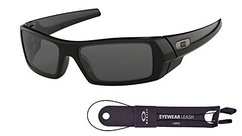 Oakley Gascan OO9014 03-471 60M Polished Black/Grey Sunglasses For Men+BUNDLE with Oakley Accessory Leash Kit (Oakley Ersatzgläser Fives 3.0)