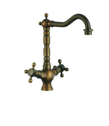 European Style Two Handle Antique Brass Kitchen Sink Faucet With