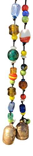 Set of 2 Glass Beads and Bells 21 in Long Wind Chimes with Nana Bell