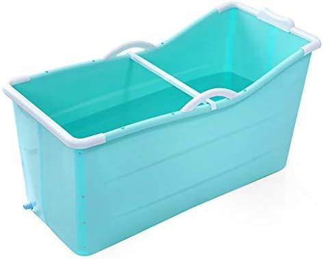 ポータブルバスタブシャワーストール柔軟なプラスチック大人サイズ折り畳み式のためにバスタブを浸します (Color : Blue)