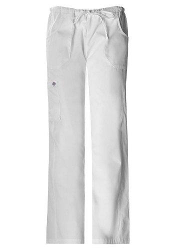 Dickies Scrubs Women's Petite Soft Works Junior Fit Drawstring Pant, White, X-Large