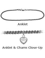 10K White Gold Curb Style 0.85tcw. White Topaz Heart Charm Anklet
