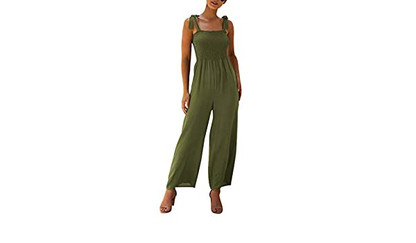 Big Tang Womens Wide Leg Camo Summer Spaghetti Strap Backless Jumpsuit