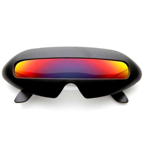 zeroUV - Futuristic Shield Single Lens Oval Party Novelty Cyclops Costume Wrap Sunglasses - Glasses Cyclops