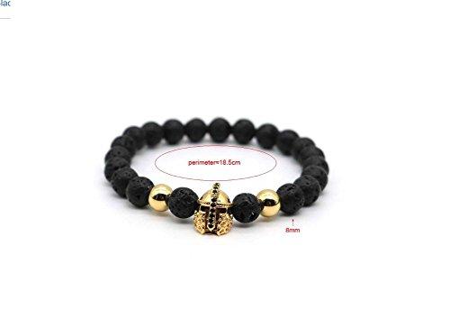 Euromen Pulseras De Hombre Black Lava Rock Stone Bracelet Men Gold Plated CZ Cubic Zirconia Gladiator Spartan Helmet Charm Bracelets (Gold) PL0015
