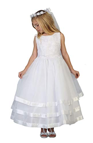 Big Girls' White First Communion Flower Girl Pageant Dress 3713 Size -