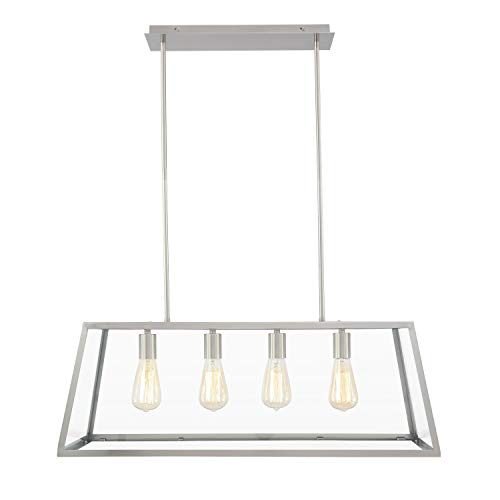 Contemporary Glass Ceiling Pendant Light - Light Society Morley 4-Light Kitchen Island Pendant, Satin Nickel Shade with Clear Glass Panels, Modern Industrial Chandelier (LS-C104-SN)