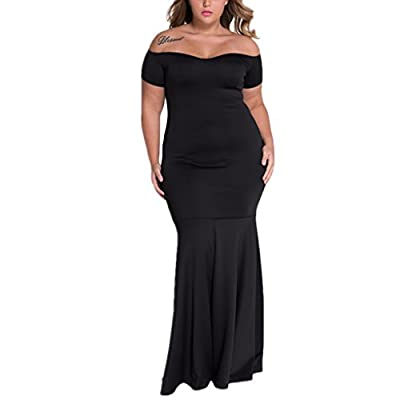 Foryingni Women's Plus Size Drop Shoulder Maxi Formal Dress