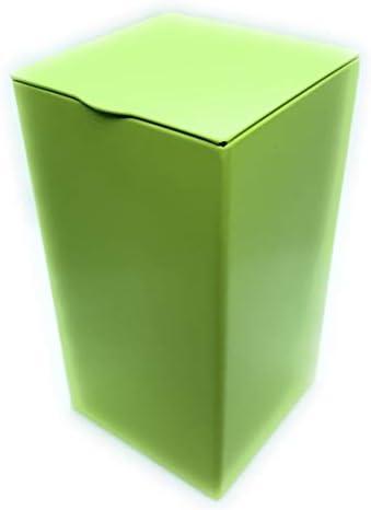 Caja de metal de Perfekto24. Caja de metal rectangular con tapa, 6,5 x 6,5 x 12 cm grande, cuadrada, vacía, color verde mate, caja de almacenamiento, lata de lata, lata de almacenamiento