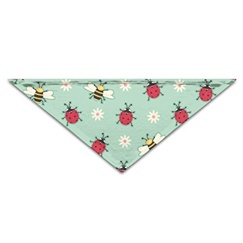 OLOSARO Dog Bandana Ladybugs Bees Green Triangle Bibs Scarf Accessories for Dogs Cats Pets Animals ()