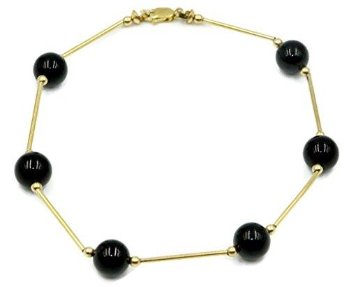 (Black Onyx Round Bracelet,14k Yellow Gold Plain Bars,71/2 Inches)
