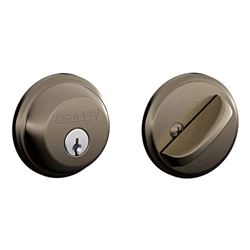 SCHLAGE LOCK CO B60N620 Single Cylinder Deadbolt, Pewter