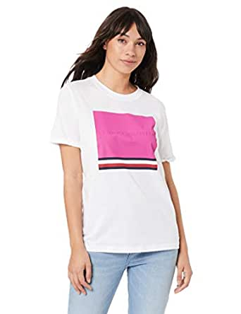 TOMMY HILFIGER Women's Organic Cotton Retro T-Shirt, Classic White/Fuchsia Red Square, XS