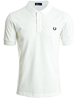 Men's Contrast Panel Pique Polo Shirt White