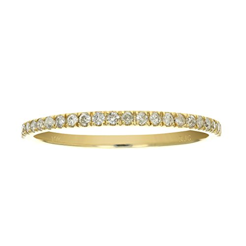 1/6 ctw Pave Diamond Wedding Band in 10K Yellow Gold In Size - Diamond Band Prong Wedding