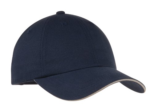 Port Authority Twill Cap - Port Authority Men's Reflective Sandwich Bill Cap OSFA Navy/Reflective