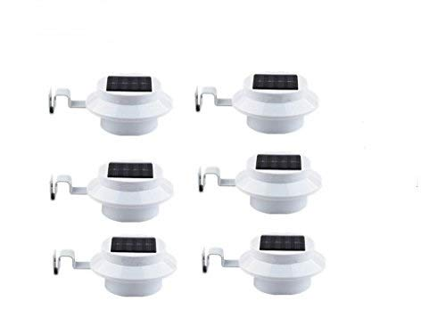 (6 Pack Deal - Outdoor Solar Gutter LED Lights - White Sun Power Smart Solar Gutter Night Utility Security Light)