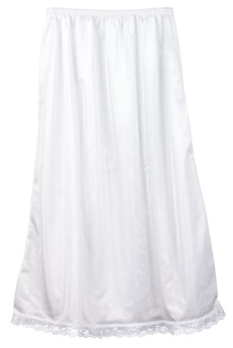 I.C. Collections Big Girls White Nylon Half Slip - Tea Length, 14