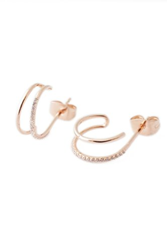 HONEYCAT Faux Double Crystal Hoop Earrings in 18k Rose Gold Plate | Minimalist, Delicate Jewelry (Rose Gold)