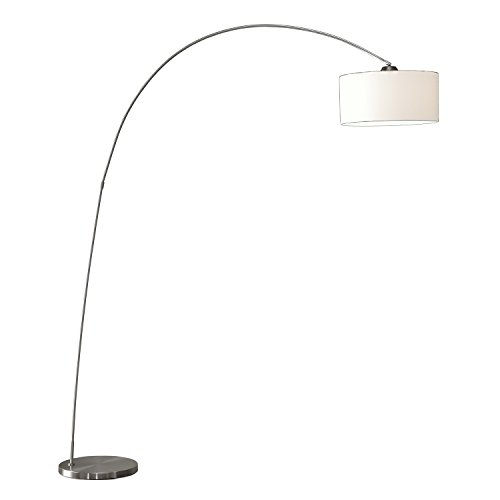 Artiva USA Adelina, European Sleek Design, Modern Art, 1-Arch 81-Inch Satin-nickel Finish Floor Arc Lamp w/ Heavy-duty Base, Adjustable Shade (Arc Floor Lamps Cheap)