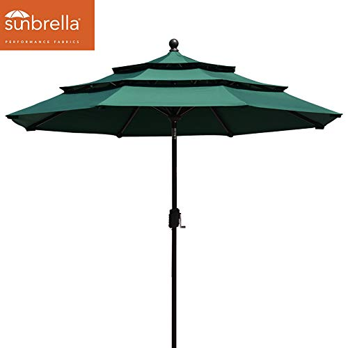 EliteShade Sunbrella 9Ft Patio Outdoor Table Umbrella 3 Layers with Ventilation (Sunbrella Forest Green) ()