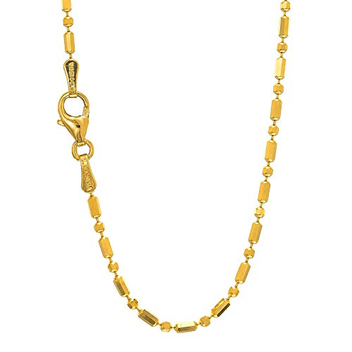 (14k Solid Yellow Gold 1.2mm Diamond-cut Bar & Bead Ball Chain Necklace, Lobster Claw-18 Inches, 2.5gr)